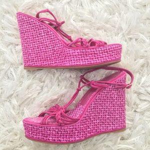 Jean-Michel Cazabat 8.5 Pink suede wedge sandals